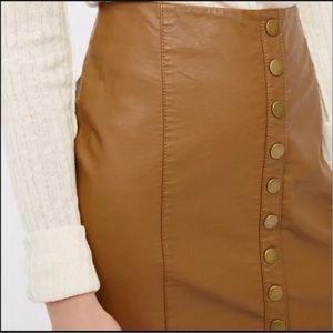 Free People Brown Vegan Leather Mini Skirt